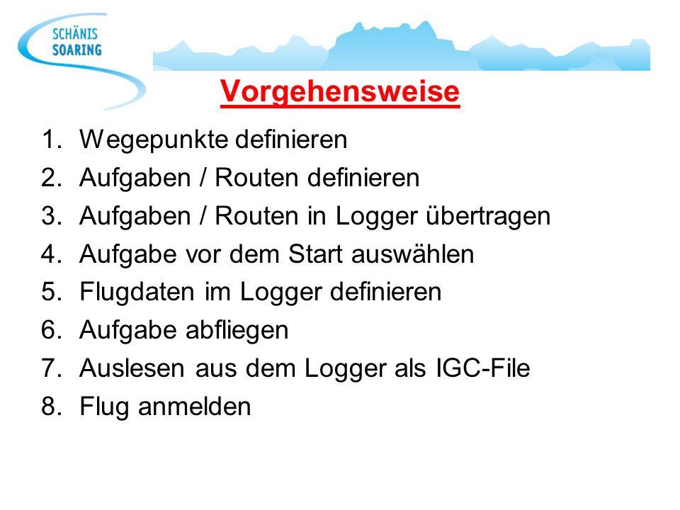 Vorgehensweise 1.Wegepunkte definieren 2.Aufgaben / Routen definieren 3.Aufgaben / Routen in Logger übertragen 4.Aufgabe vor dem Start auswählen 5.Flu