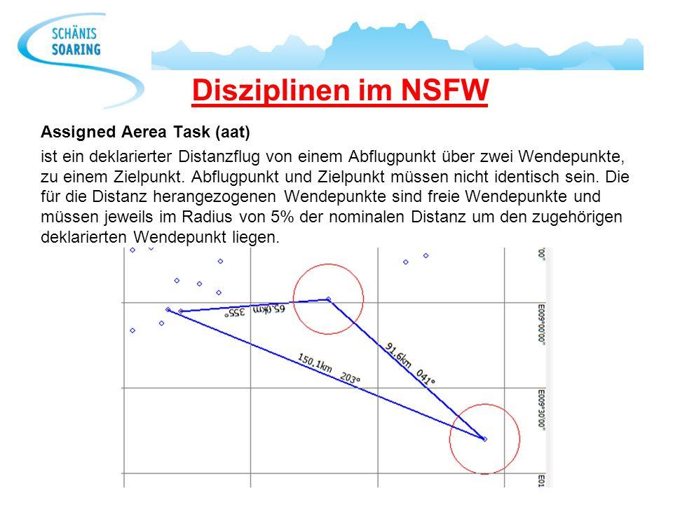 Disziplinen im NSFW Assigned Aerea Task (aat) ist ein deklarierter Distanzflug von einem Abflugpunkt über zwei Wendepunkte, zu einem Zielpunkt. Abflug