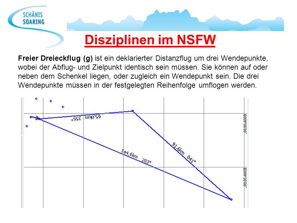 Disziplinen im NSFW Freier Dreieckflug (g) ist ein deklarierter Distanzflug um drei Wendepunkte, wobei der Abflug- und Zielpunkt identisch sein müssen