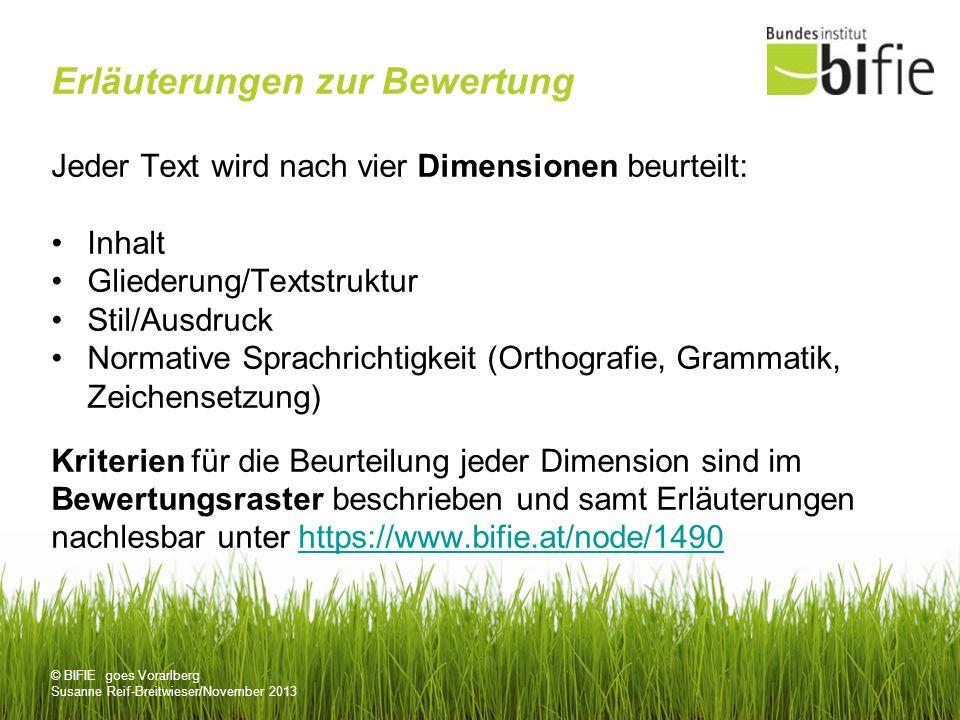 © BIFIE goes Vorarlberg Susanne Reif-Breitwieser/November 2013 Erläuterungen zur Bewertung Jeder Text wird nach vier Dimensionen beurteilt: Inhalt Gli