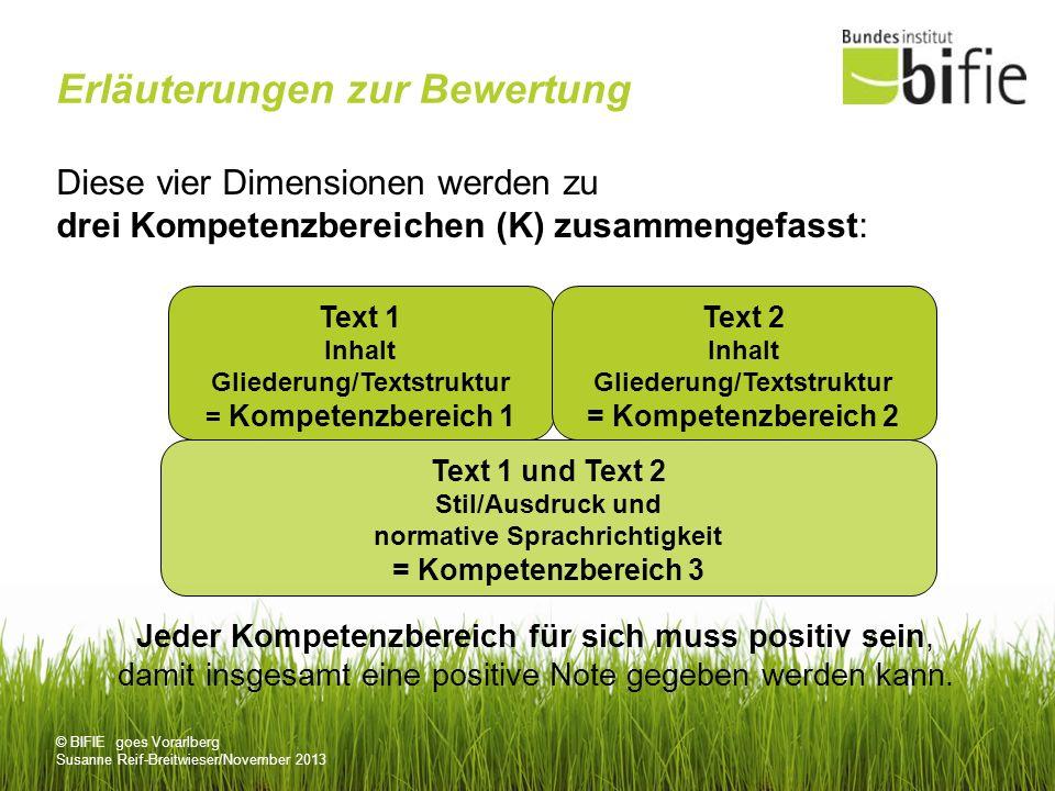 © BIFIE goes Vorarlberg Susanne Reif-Breitwieser/November 2013 Erläuterungen zur Bewertung Diese vier Dimensionen werden zu drei Kompetenzbereichen (K) zusammengefasst: Jeder Kompetenzbereich für sich muss positiv sein, damit insgesamt eine positive Note gegeben werden kann.