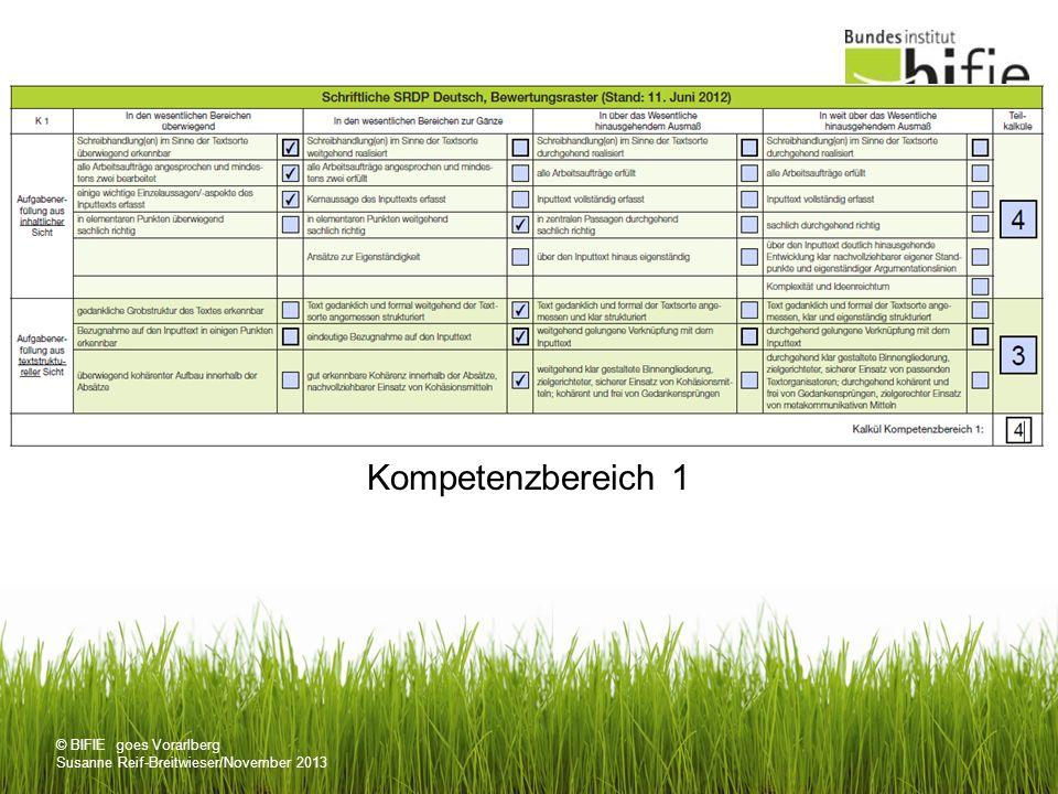 © BIFIE goes Vorarlberg Susanne Reif-Breitwieser/November 2013 Kompetenzbereich 1