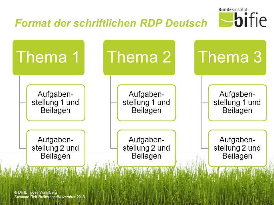 © BIFIE goes Vorarlberg Susanne Reif-Breitwieser/November 2013 Format der schriftlichen RDP Deutsch Thema 1 Aufgaben- stellung 1 und Beilagen Aufgaben