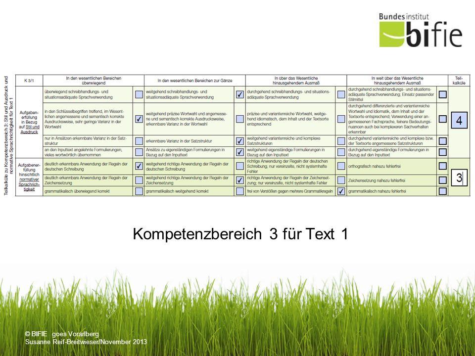 © BIFIE goes Vorarlberg Susanne Reif-Breitwieser/November 2013 Kompetenzbereich 3 für Text 1