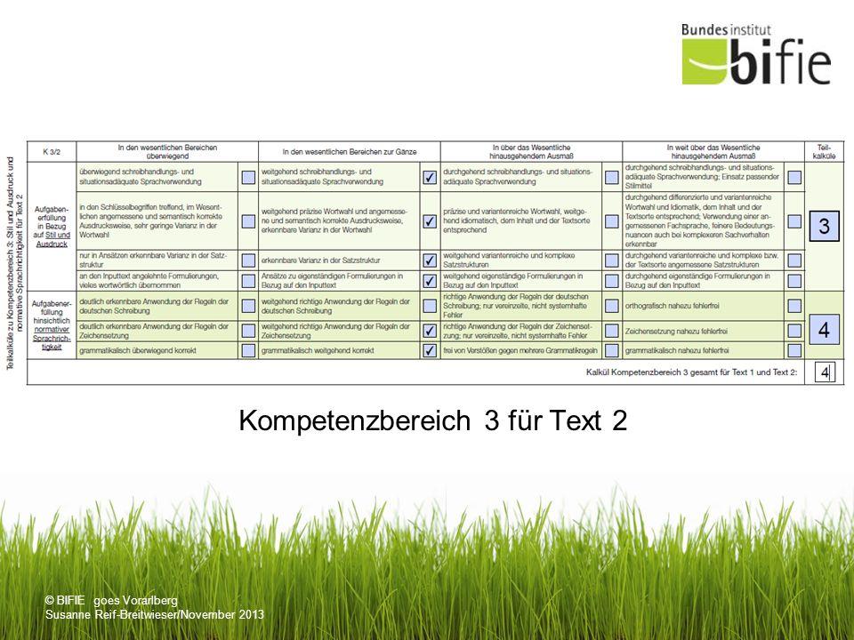© BIFIE goes Vorarlberg Susanne Reif-Breitwieser/November 2013 Kompetenzbereich 3 für Text 2