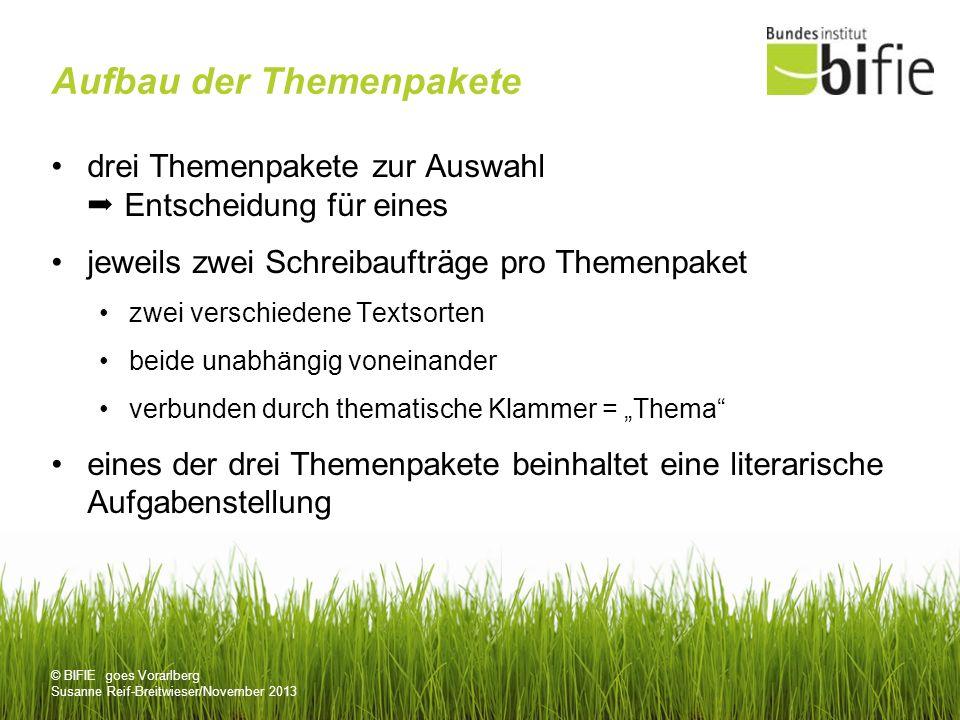 © BIFIE goes Vorarlberg Susanne Reif-Breitwieser/November 2013 Aufbau der Themenpakete drei Themenpakete zur Auswahl Entscheidung für eines jeweils zw