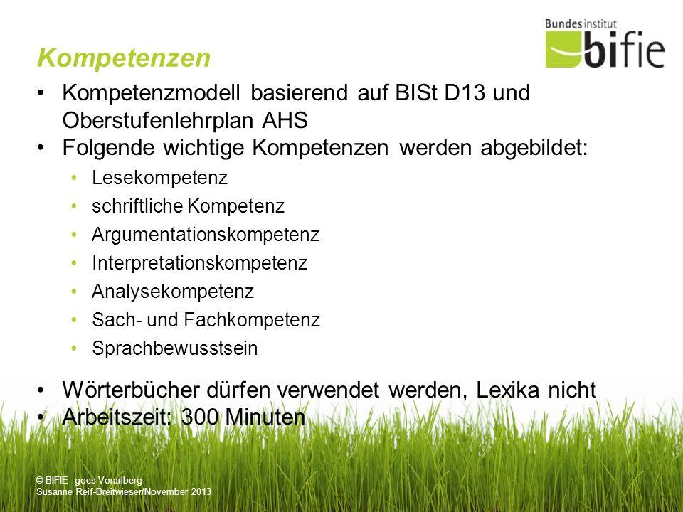 © BIFIE goes Vorarlberg Susanne Reif-Breitwieser/November 2013 Kompetenzen Kompetenzmodell basierend auf BISt D13 und Oberstufenlehrplan AHS Folgende