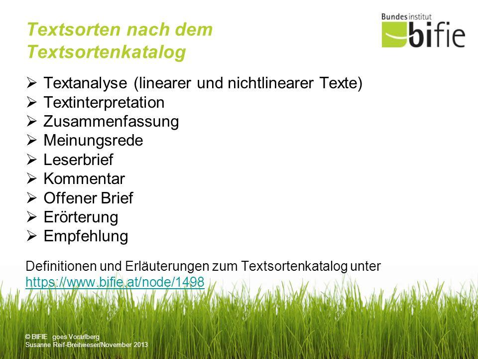 © BIFIE goes Vorarlberg Susanne Reif-Breitwieser/November 2013 Textsorten nach dem Textsortenkatalog Textanalyse (linearer und nichtlinearer Texte) Te