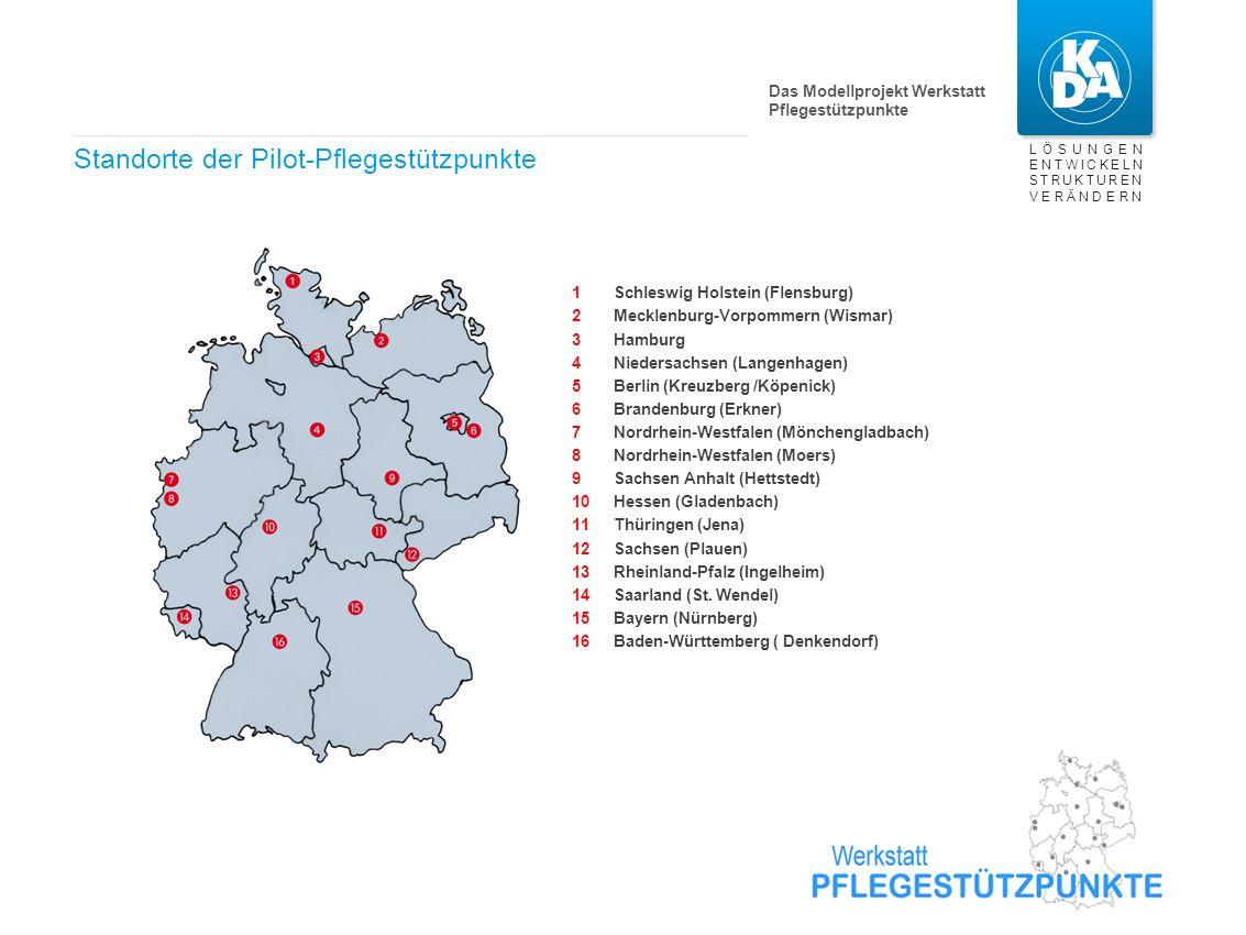 LÖSUNGEN ENTWICKELN STRUKTUREN VERÄNDERN Standorte der Pilot-Pflegestützpunkte Schleswig Holstein (Flensburg) Mecklenburg-Vorpommern (Wismar) Hamburg