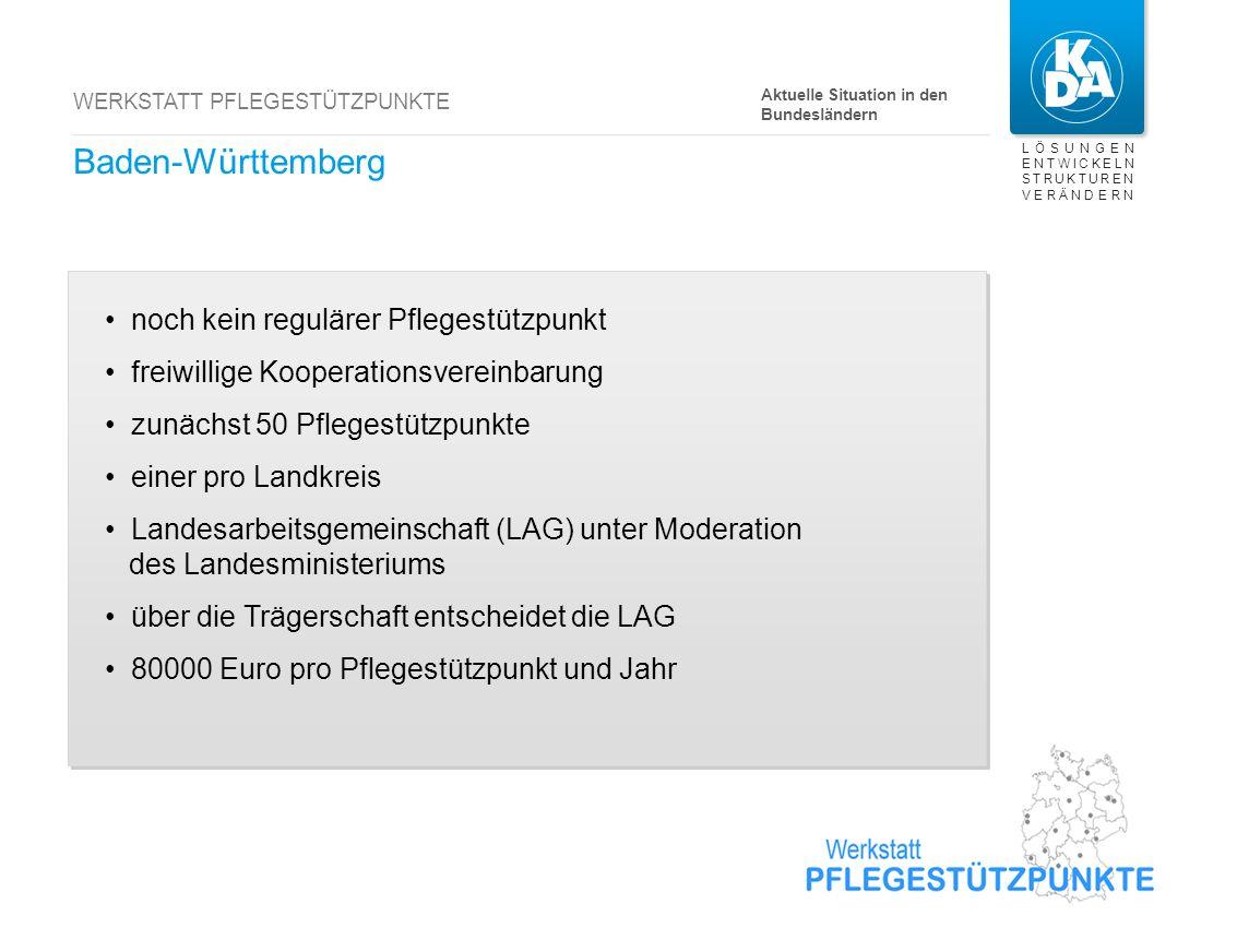 LÖSUNGEN ENTWICKELN STRUKTUREN VERÄNDERN WERKSTATT PFLEGESTÜTZPUNKTE Baden-Württemberg Aktuelle Situation in den Bundesländern noch kein regulärer Pfl