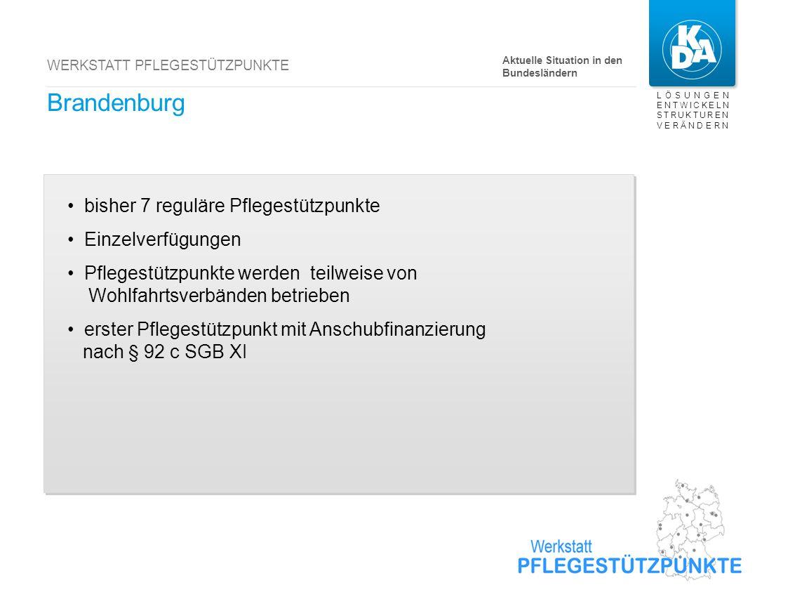 LÖSUNGEN ENTWICKELN STRUKTUREN VERÄNDERN WERKSTATT PFLEGESTÜTZPUNKTE Brandenburg bisher 7 reguläre Pflegestützpunkte Einzelverfügungen Pflegestützpunk