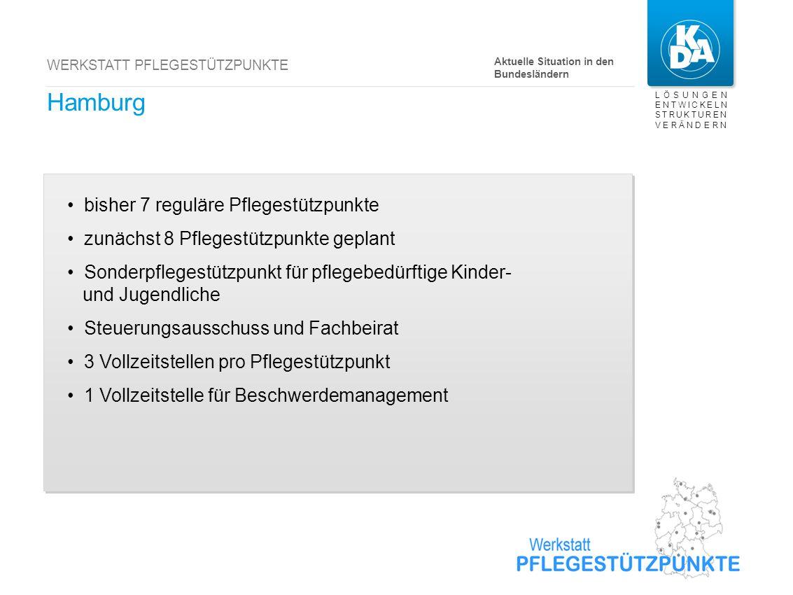 LÖSUNGEN ENTWICKELN STRUKTUREN VERÄNDERN WERKSTATT PFLEGESTÜTZPUNKTE Hamburg bisher 7 reguläre Pflegestützpunkte zunächst 8 Pflegestützpunkte geplant