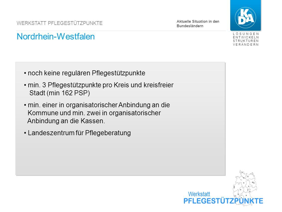 LÖSUNGEN ENTWICKELN STRUKTUREN VERÄNDERN WERKSTATT PFLEGESTÜTZPUNKTE Nordrhein-Westfalen noch keine regulären Pflegestützpunkte min. 3 Pflegestützpunk