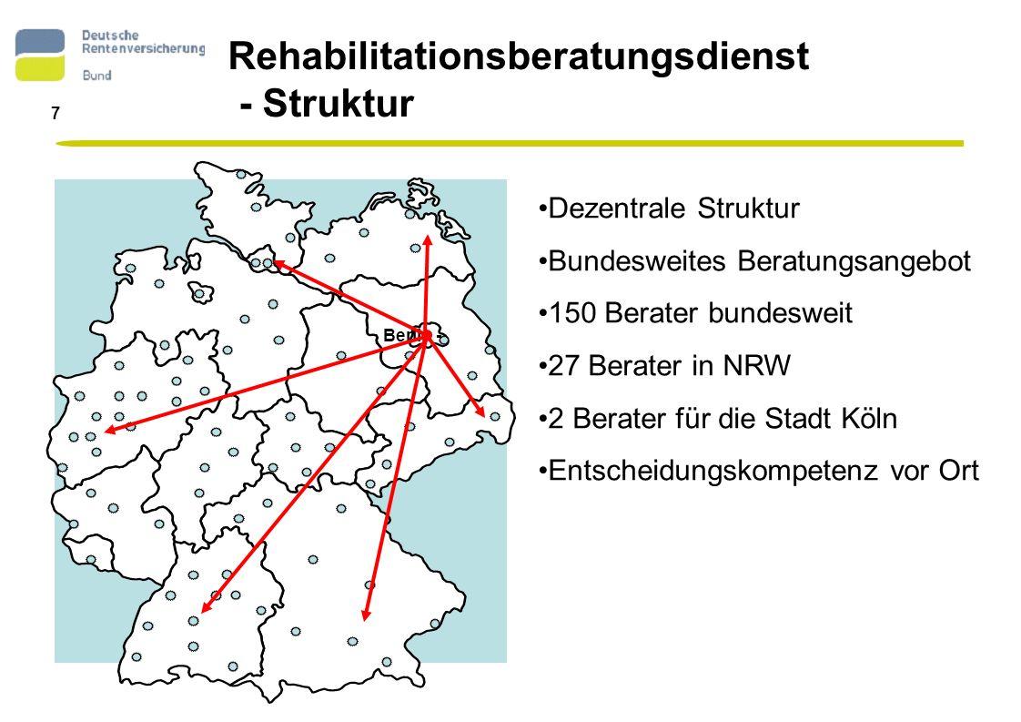 8 Reha-Beratung in Köln Verena Demmin und Reto Schneider Auskunfts- und Beratungsstelle der Deutschen Rentenversicherung Hohe Str.