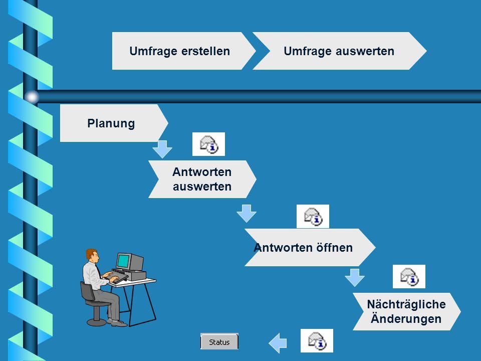 Umfrage erstellenUmfrage auswerten Antworten öffnen Planung Nächträgliche Änderungen Antworten auswerten