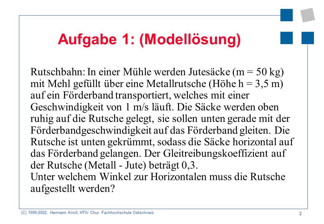 (C) 1999-2002, Hermann Knoll, HTW Chur, Fachhochschule Ostschweiz 2 Aufgabe 1: (Modellösung) Rutschbahn: In einer Mühle werden Jutesäcke (m = 50 kg) m