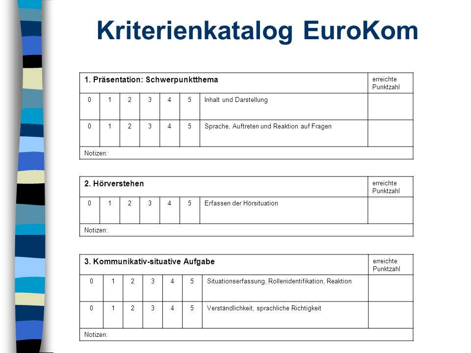Bewertung der Schülerleistung bei der EuroKomPrüfung n Die 3 Teile (Hörverstehen - Präsentation des Schwerpunktthemas - kommunikative und situative Aufgabenformen) werden zunächst getrennt bewertet.