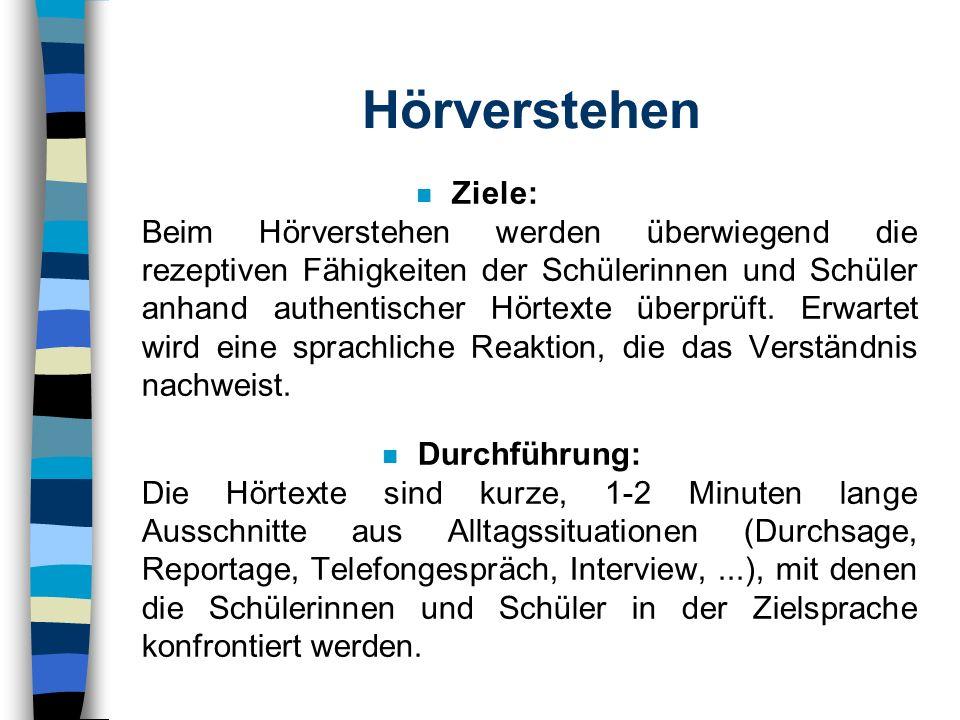Bestandteile der EuroKomPrüfung n Präsentation eines Schwerpunktthemas Hörverstehen Kommunikative und situative Aufgaben