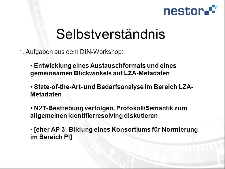 Selbstverständnis 1. Aufgaben aus dem DIN-Workshop: Entwicklung eines Austauschformats und eines gemeinsamen Blickwinkels auf LZA-Metadaten State-of-t