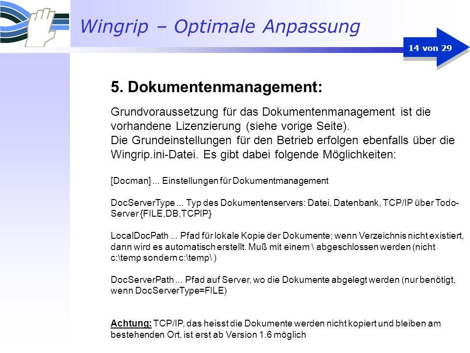 Wingrip – Optimale Anpassung 14 von 29 Grundvoraussetzung für das Dokumentenmanagement ist die vorhandene Lizenzierung (siehe vorige Seite). Die Grund