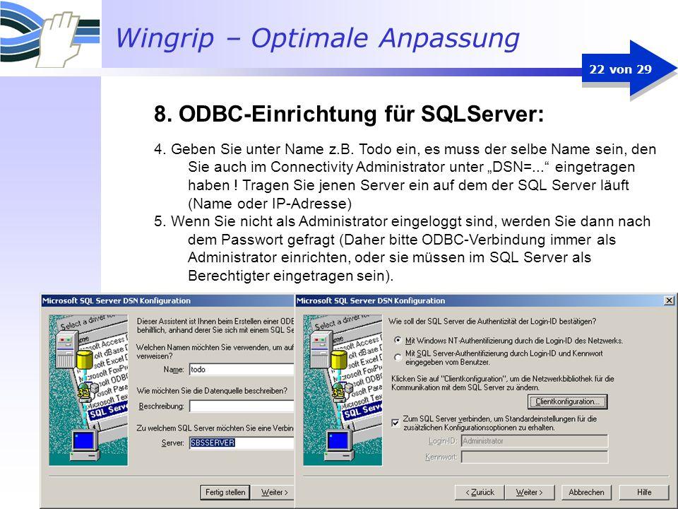 Wingrip – Optimale Anpassung 22 von 29 4. Geben Sie unter Name z.B. Todo ein, es muss der selbe Name sein, den Sie auch im Connectivity Administrator