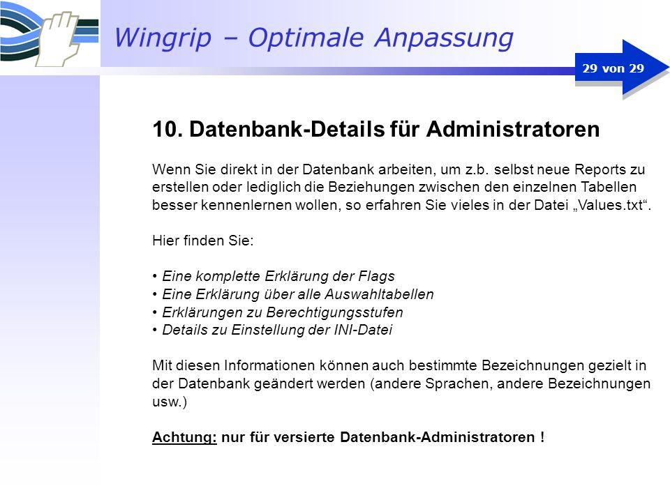 Wingrip – Optimale Anpassung 29 von 29 Wenn Sie direkt in der Datenbank arbeiten, um z.b. selbst neue Reports zu erstellen oder lediglich die Beziehun