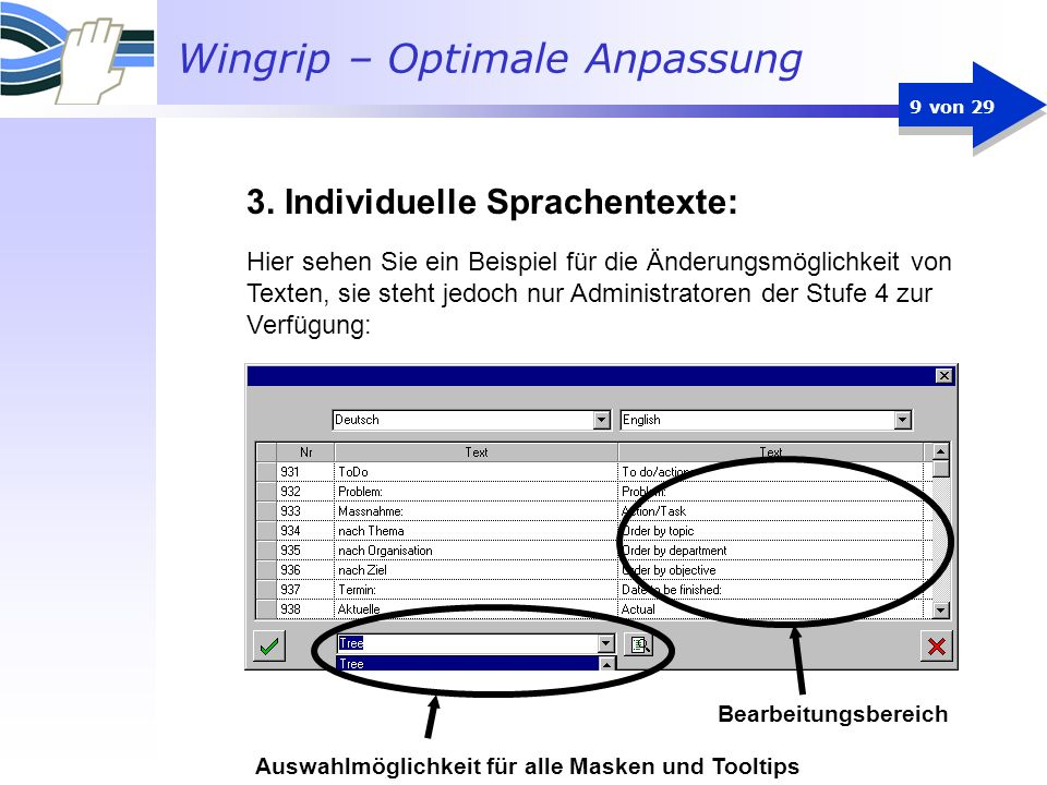Wingrip – Optimale Anpassung 9 von 29 Hier sehen Sie ein Beispiel für die Änderungsmöglichkeit von Texten, sie steht jedoch nur Administratoren der St