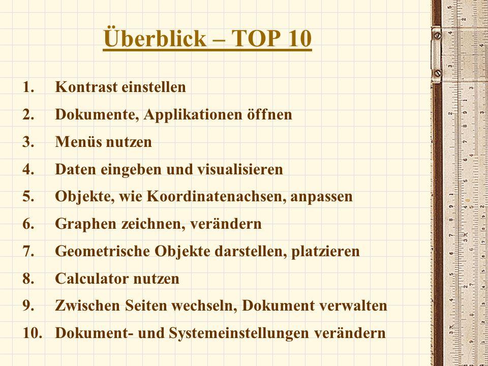 Überblick – TOP 10 1.Kontrast einstellen 2.Dokumente, Applikationen öffnen 3.Menüs nutzen 4.Daten eingeben und visualisieren 5.Objekte, wie Koordinate