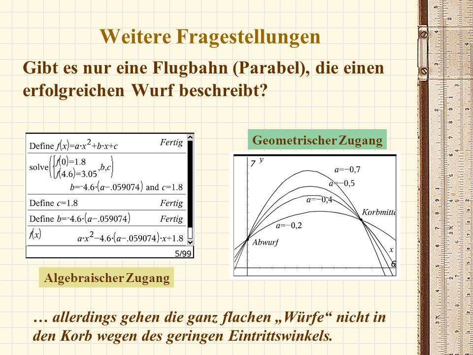 Gibt es nur eine Flugbahn (Parabel), die einen erfolgreichen Wurf beschreibt? … allerdings gehen die ganz flachen Würfe nicht in den Korb wegen des ge