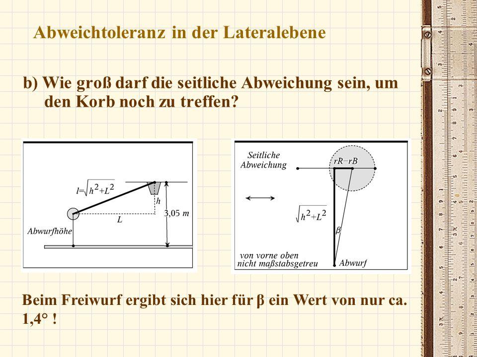 Abweichtoleranz in der Lateralebene b) Wie groß darf die seitliche Abweichung sein, um den Korb noch zu treffen? Beim Freiwurf ergibt sich hier für β