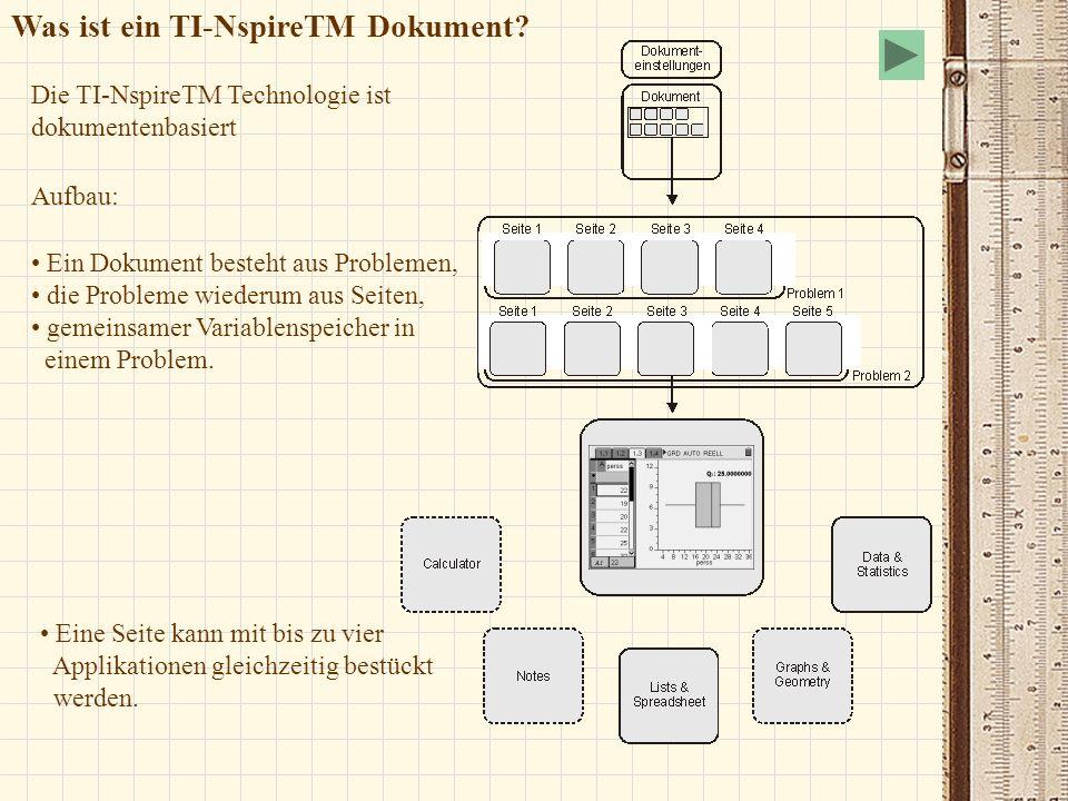 Was ist ein TI-NspireTM Dokument? Aufbau: Die TI-NspireTM Technologie ist dokumentenbasiert Ein Dokument besteht aus Problemen, die Probleme wiederum