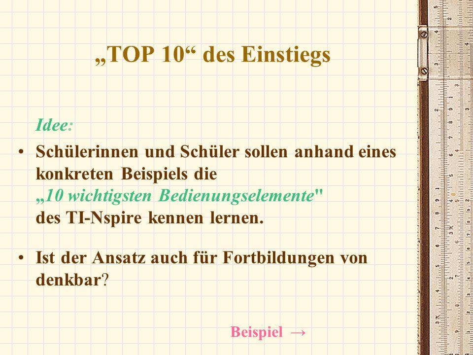 TOP 10 des Einstiegs Idee: Schülerinnen und Schüler sollen anhand eines konkreten Beispiels die10 wichtigsten Bedienungselemente