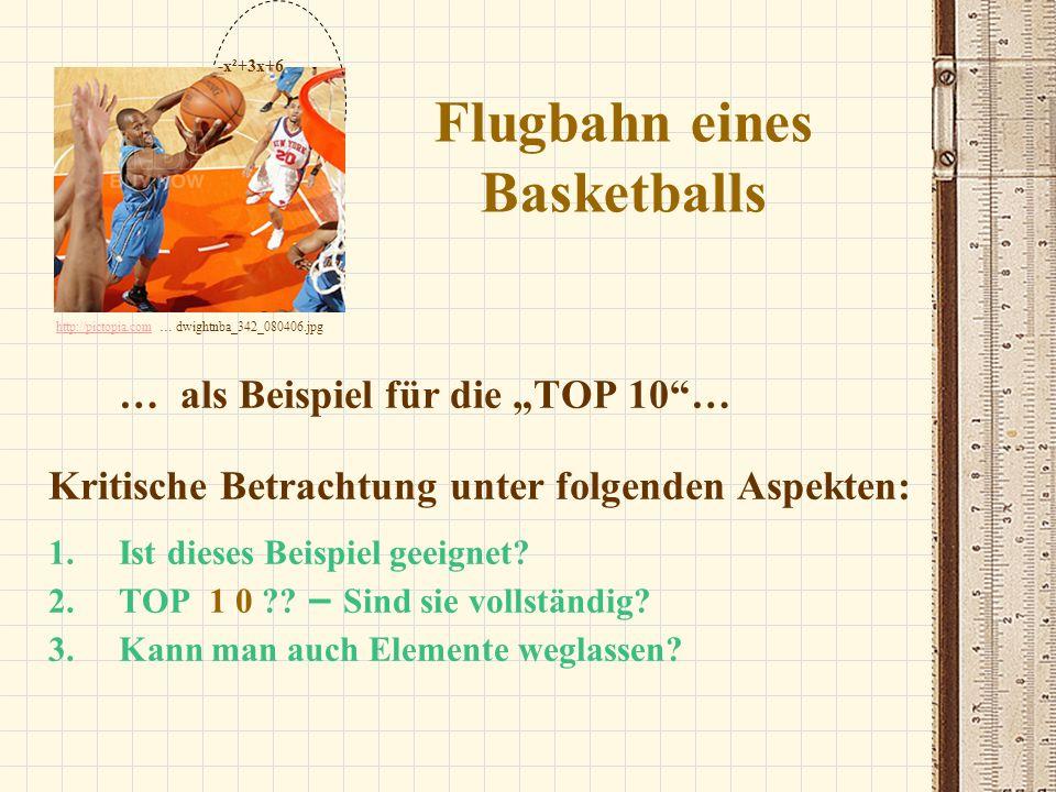 Flugbahn eines Basketballs … als Beispiel für die TOP 10… Kritische Betrachtung unter folgenden Aspekten: 1.Ist dieses Beispiel geeignet? 2.TOP 1 0 ??