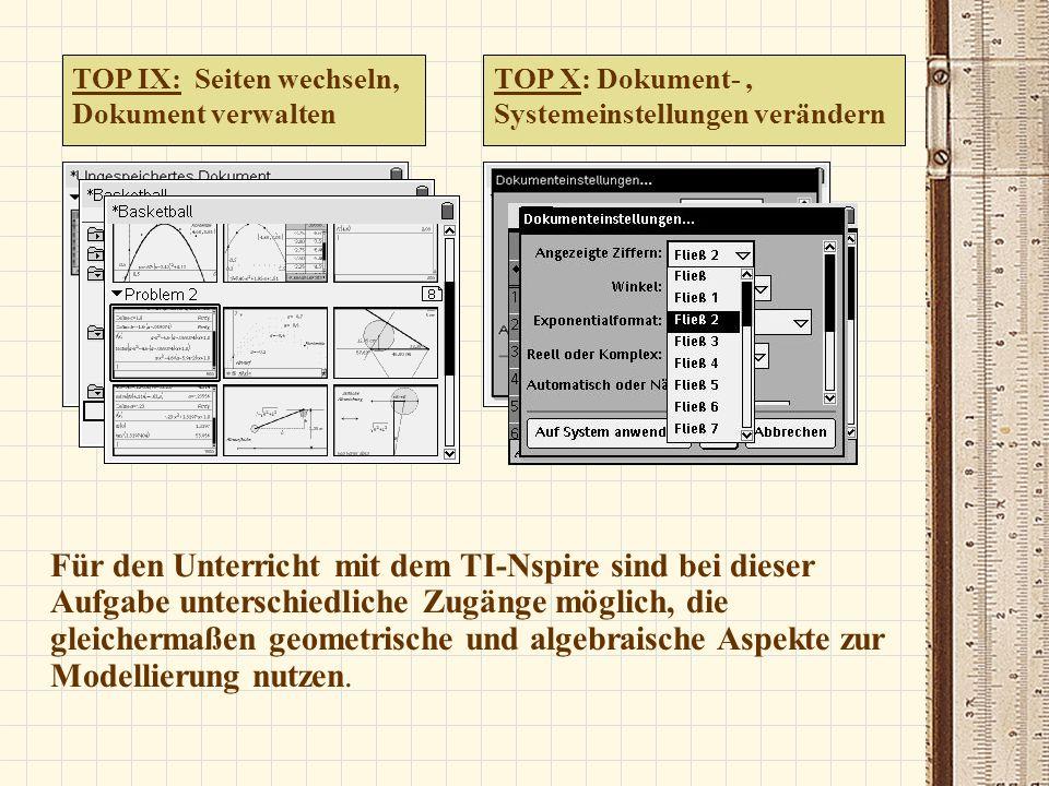 Überblick – TOP 10 1.Kontrast einstellen 2.Dokumente, Applikationen öffnen 3.Menüs nutzen 4.Daten eingeben und visualisieren 5.Objekte, wie Koordinatenachsen, anpassen 6.Graphen zeichnen, verändern 7.Geometrische Objekte darstellen, platzieren 8.Calculator nutzen 9.Zwischen Seiten wechseln, Dokument verwalten 10.Dokument- und Systemeinstellungen verändern
