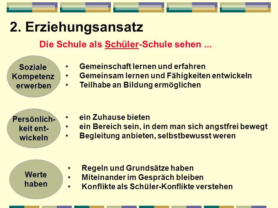2.Erziehungsansatz Die Schule als Schüler-Schule sehen...