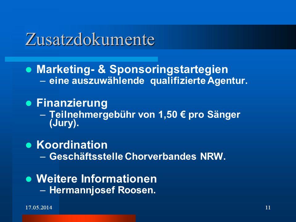 17.05.201411 Zusatzdokumente Marketing- & Sponsoringstartegien –eine auszuwählende qualifizierte Agentur. Finanzierung –Teilnehmergebühr von 1,50 pro
