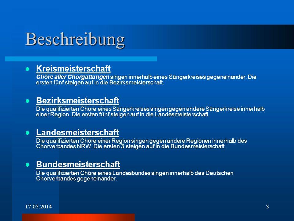 17.05.20143 Beschreibung Kreismeisterschaft Chöre aller Chorgattungen singen innerhalb eines Sängerkreises gegeneinander.