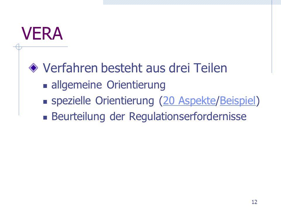 12 VERA Verfahren besteht aus drei Teilen allgemeine Orientierung spezielle Orientierung (20 Aspekte/Beispiel)20 AspekteBeispiel Beurteilung der Regulationserfordernisse