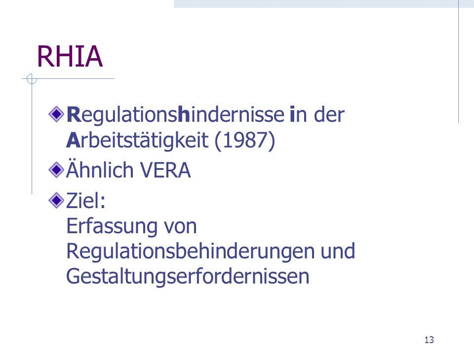 13 RHIA Regulationshindernisse in der Arbeitstätigkeit (1987) Ähnlich VERA Ziel: Erfassung von Regulationsbehinderungen und Gestaltungserfordernissen