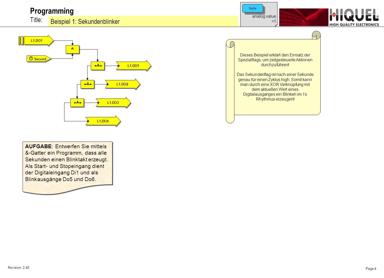 Revision: 2.40 Page 5 Title: Programming Beispiel 2: Sekundenblinker Dieses Beispiel erklärt den Einsatz der Spezialflags, um zeitgesteuerte Aktionen durchzuführen.