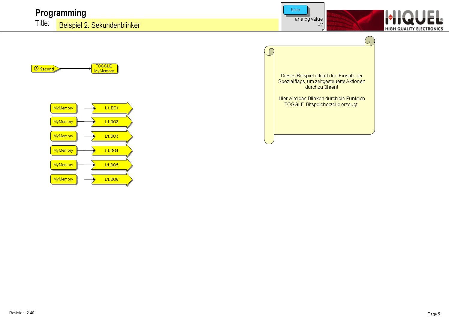 Revision: 2.40 Page 6 Title: Programming Beispiel 3: Sekundenblinker Dieses Beispiel erklärt den Einsatz der Spezialflags, um zeitgesteuerte Aktionen durchzuführen.