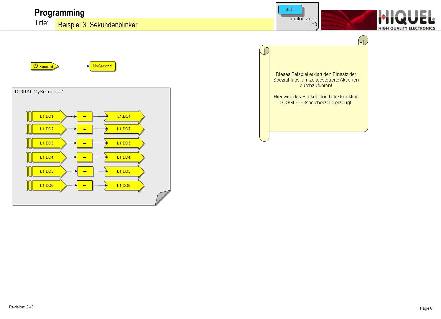 Revision: 2.40 Page 7 Title: Programming Beispiel 4: Einschaltverzögerung Dieses Beispiel erklärt den Einsatz eines Timerobjektes, um zeitgesteuerte Aktionen durchzuführen.