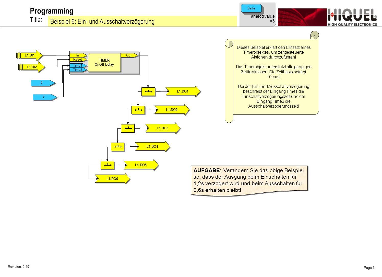 Revision: 2.40 Page 10 Title: Programming Beispiel 7: Einschaltwischer Dieses Beispiel erklärt den Einsatz eines Timerobjektes, um zeitgesteuerte Aktionen durchzuführen.
