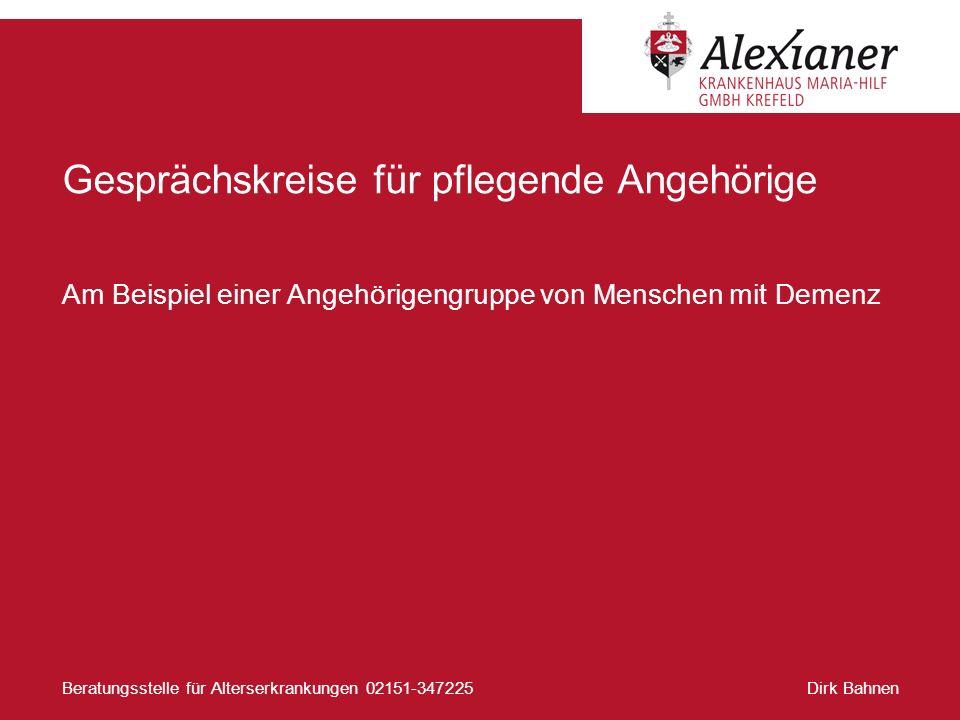 Dirk BahnenBeratungsstelle für Alterserkrankungen 02151-347225 Gesprächskreise für pflegende Angehörige Am Beispiel einer Angehörigengruppe von Mensch