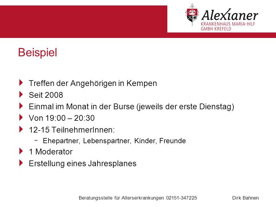 Dirk Bahnen Beratungsstelle für Alterserkrankungen 02151-347225 Beispiel Treffen der Angehörigen in Kempen Seit 2008 Einmal im Monat in der Burse (jew