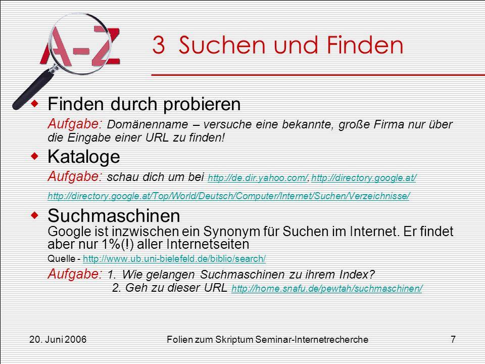 20. Juni 2006Folien zum Skriptum Seminar-Internetrecherche7 3 Suchen und Finden Finden durch probieren Aufgabe: Domänenname – versuche eine bekannte,