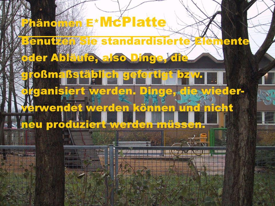 Phänomen E* McPlatte Benutzen Sie standardisierte Elemente oder Abläufe, also Dinge, die großmaßstäblich gefertigt bzw.