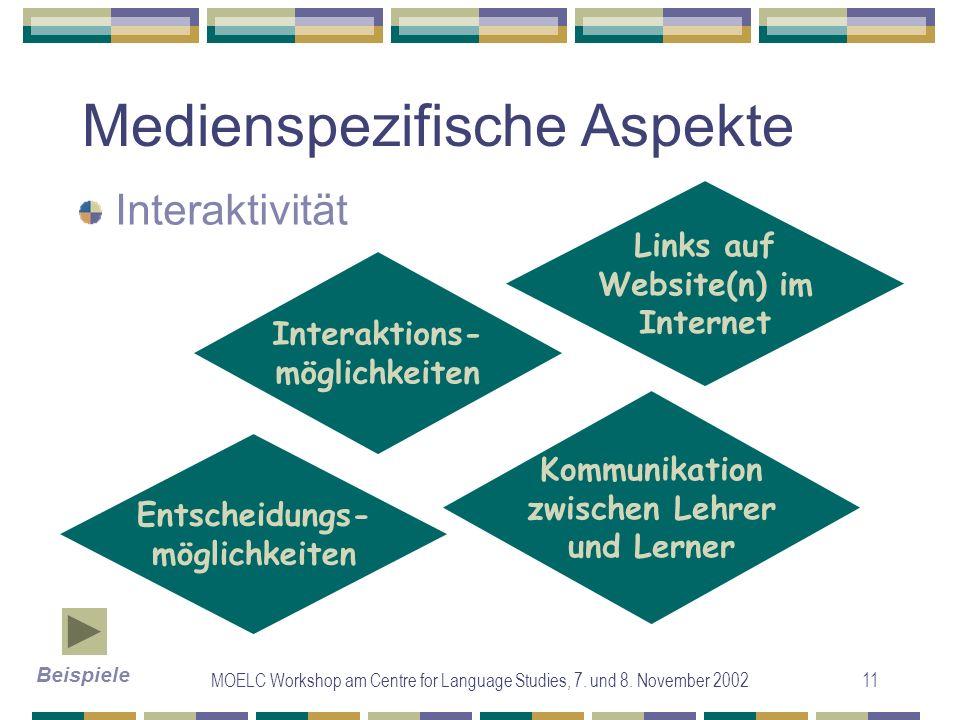 MOELC Workshop am Centre for Language Studies, 7. und 8. November 200211 Medienspezifische Aspekte Interaktivität Interaktions- möglichkeiten Entschei