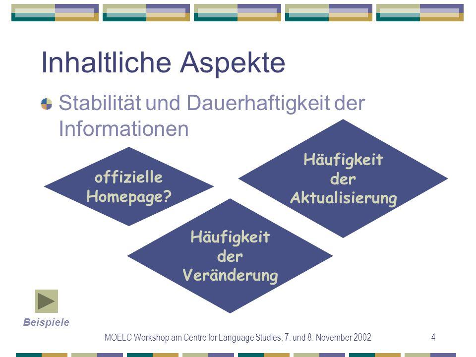 MOELC Workshop am Centre for Language Studies, 7. und 8. November 20024 Inhaltliche Aspekte Stabilität und Dauerhaftigkeit der Informationen offiziell