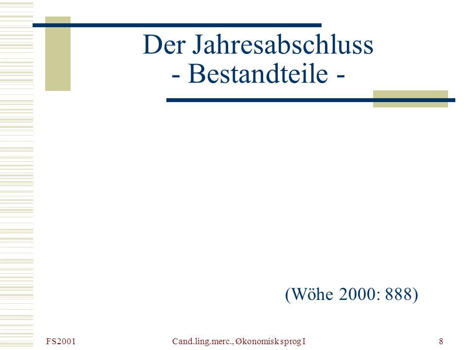 FS2001 Cand.ling.merc., Økonomisk sprog I9 Die Bilanz - modellhafte Gliederung AktivaPassiva AnlagevermögenEigenkapital UmlaufvermögenFremdkapital